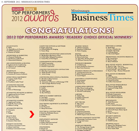 The Mississauga Business Times awarded B-Safe Electric with Gold award in the Best Electrical Contractor category.