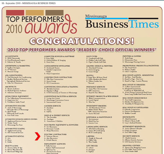 B-Safe was selected as a Top Performer during 2010 by the Readers of the Mississauga Business Times