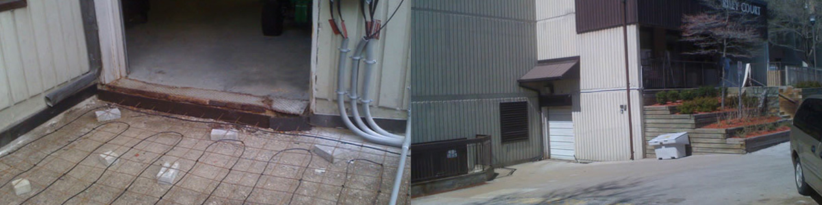 Loading dock ramp. Electric heating cables layout before pouring concrete